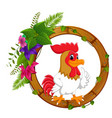 rooster on round wood frame with flower vector image vector image