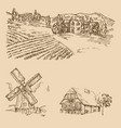 rural landscape hand drawn vineyard farm house vector image