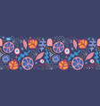 seamless border abstract tropical leaves and fruit