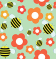 Seamless Pattern in Cartoon Style with Cute Bee vector image vector image