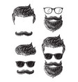 set bearded men faces hipsters with different vector image vector image