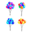 set bunches helium colorful air balloons isolated vector image vector image