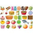 set different foods vector image vector image