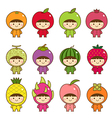 set kids in cute fruits costumes vector image vector image