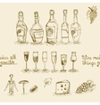 Set of wine bottles and glasses vector image vector image