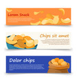 snack banners template with potato chips vector image vector image