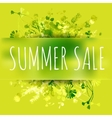 Summer sale watercolor background with leaves and vector image