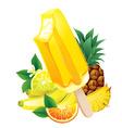 tropical fruits banana pineapple orange lemon vector image