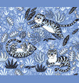 tropical seamless pattern with funny tigers in vector image