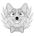 Zentangle Welsh Corgi with bow tie in wreath frame vector image vector image