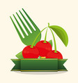 cherry food healthy stamp vector image