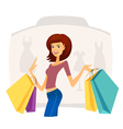 Happy beautiful woman with shopping bags vector image
