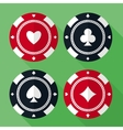 Set of casino gambling chips flat icons vector image