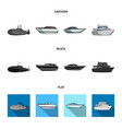 a military submarine a speedboat a pleasure boat vector image