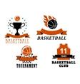 Basketball club and tournament emblem templates vector image