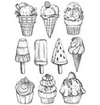 black and white set of ice cream vector image