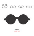 black glasses icon on white background vector image vector image