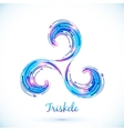 Blue abstract triskele symbol vector image vector image