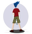 blue hair man on toilet from behind vector image vector image