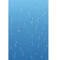 Blue transparent water drops background vector image