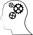 Brain of gears silhouette vector image vector image