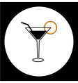 cocktail alcohol drink with lemon and straw simple vector image vector image