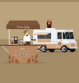 coffee truck trailer with waitress serving vector image