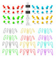 colorful pushpins and paperclips binders vector image vector image