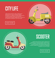 compact city transport flyers with classic mopeds vector image vector image