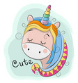 cute cartoon unicorn on a blue background vector image vector image