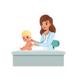 female pediatrician doing medical sthetoscope vector image vector image