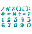 font design for numbers and signs in blue vector image vector image