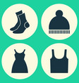 garment icons set collection of half-hose dress vector image
