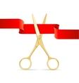 Golg Scissors Cut Red Ribbon vector image vector image