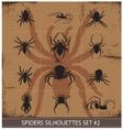 halloween spiders silhouettes symbols set vector image