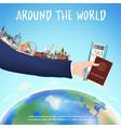 hand hold boarding pass passport and world landmar vector image vector image