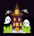 house ghost and bats flying halloween vector image