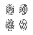 identification fingerprints sketches set vector image vector image