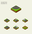 isometric way set of repairs down road and other vector image vector image