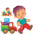 little boy rolling his car truck vector image vector image