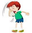 Little boy sneezing hard vector image vector image