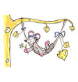 mouse boy lies in a hammock vector image vector image