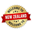 new zealand 3d gold badge with red ribbon vector image vector image