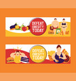 obesity concept set of banners vector image vector image