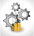 screwdriver and gears vector image vector image
