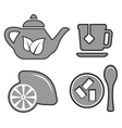 set gray tea set icons vector image