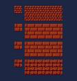 set of 8 bit 16x16 red brick vector image vector image
