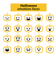Set of Halloween Pumpkins icon emotions face vector image vector image