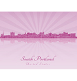 South Portland skyline in purple radiant orchid vector image vector image