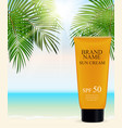 sun care cream bottle tube template for ads or vector image vector image